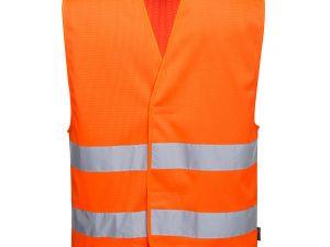 Pomarańczowa kamizelka ostrzegawcza siatkowa z dwoma taśmami. Widok z przodu.