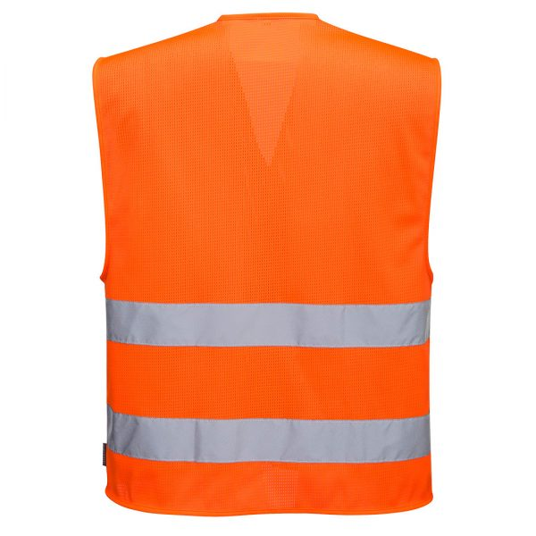 Pomarańczowa kamizelka ostrzegawcza siatkowa z dwoma taśmami. Widok z tyłu.