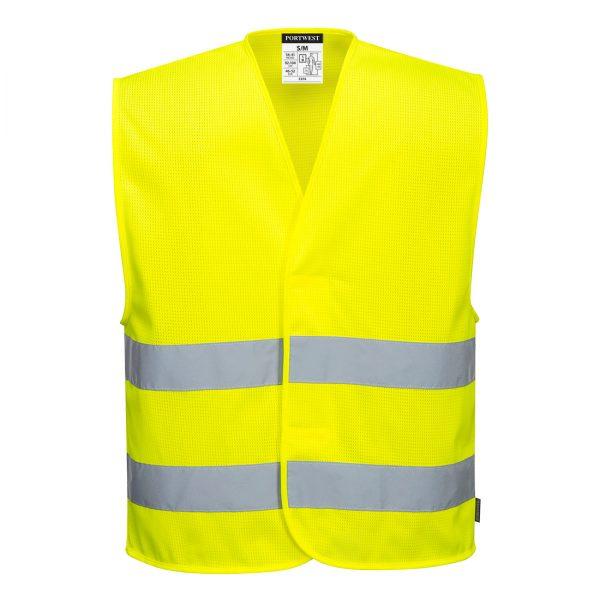 Żółta kamizelka ostrzegawcza siatkowa z dwoma taśmami. Widok z przodu.