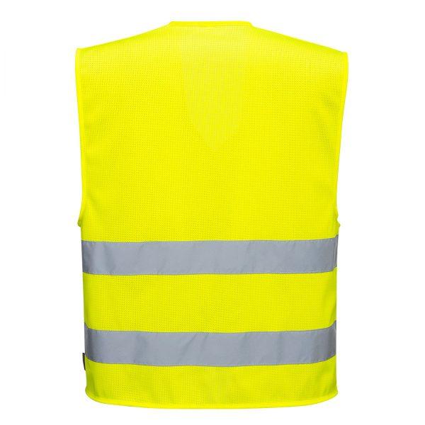 Żółta kamizelka ostrzegawcza siatkowa z dwoma taśmami. Widok z tyłu.