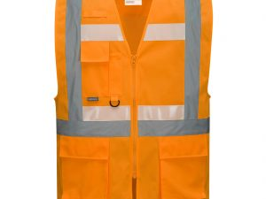 Kamizelka Executive Glowtex z zamkiem Ezee w kolorze pomarańczowym. Widok z przodu
