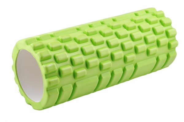 Zielony roller do jogi oraz masażu z wypustkami