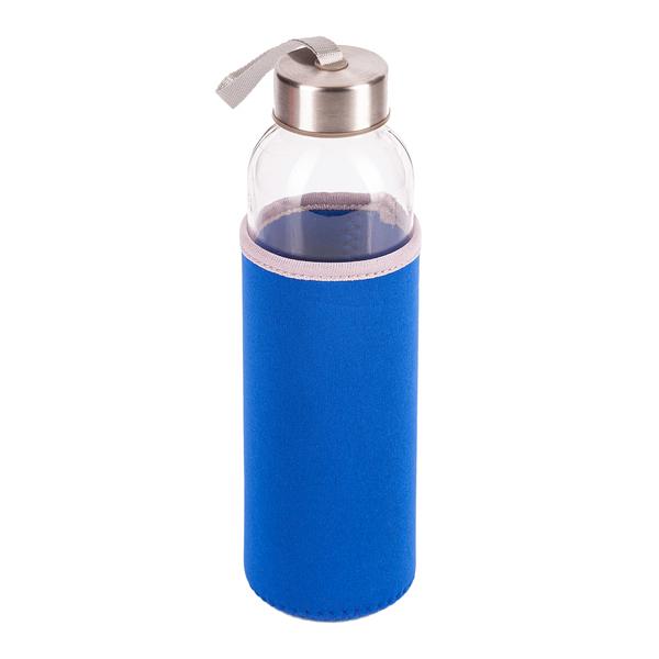 Niebieska butelka ze szkła hartowanego widok z góry