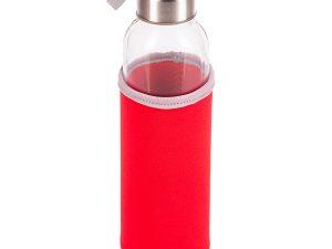 Czerwona butelka ze szkła hartowanego widok z góry