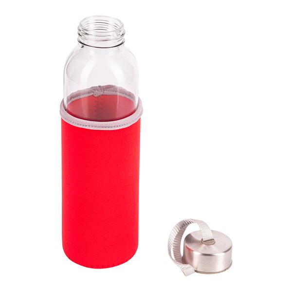 Czerwona otwarta butelka ze szkła hartowanego widok z góry