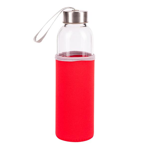 Czerwona butelka ze szkła hartowanego widok z przodu