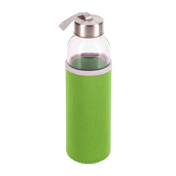 Zielona butelka ze szkła hartowanego widok z góry