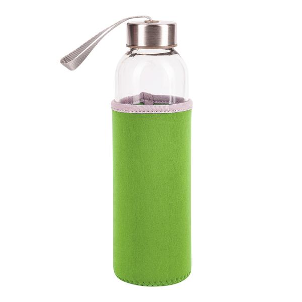 Zielona butelka ze szkła hartowanego widok z przodu